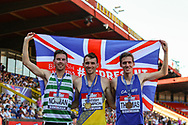 Silver medalist Phil NORMAN, gold medalist Zak SEDDON and bronze medalist Ieuan THOMAS after the Men's 3000m Steeplechase Final during the Muller British Athletics Championships at Alexander Stadium, Birmingham, United Kingdom on 25 August 2019.