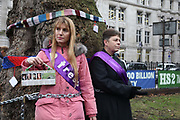 Protesters against the planned HS2 project takes place 12.01.18 in Euston, London, United Kingdom. HS2 will take over the land by Euston Monday Jan 15 and all the trees will have to go. Local resident Jo Hurford and vicar Anne Stevens locked themselves to a tree in protest.