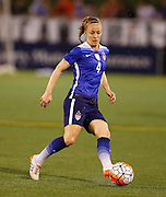 CHATTANOOGA, TN - AUGUST 19:  Defender Becky Sauerbrunn #4 of the United States passes the ball during the friendly match against Costa Rica at Finley Stadium on August 19, 2015 in Chattanooga, Tennessee.  (Photo by Mike Zarrilli/Getty Images)
