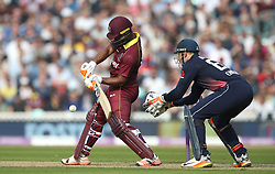 West IndiesÕ Evin Lewis hits out during the Fourth Royal London One Day International at the Kia Oval, London.