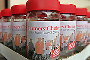 An Oxfam campaign for fair trade coffee production with mock coffee jars called Farmers choice. Farmer's Choice coffee, handed out to delegates during the International Coffee Organization (ICO) conference in 2006, London.