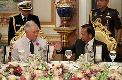 The Prince of Wales and the Sultan of Brunei attend a high tea at the Sultan of Brunei's Palace in Bandar Seri Begawan, Brunei.