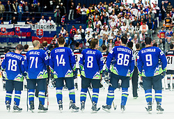 Players of Slovenia after the Ice Hockey match between Slovenia and USA at Day 10 in Group B of 2015 IIHF World Championship, on May 10, 2015 in CEZ Arena, Ostrava, Czech Republic. Photo by Vid Ponikvar / Sportida