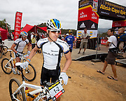 Stefan Sahm prepares to line up with team mate Karl Platt (Team Bulls 1) at the start of stage one of the 2010 Absa Cape Epic Mountain Bike stage race from Diemersfontein Wine estate, Wellington, to Ceres in the Western Cape, South Africa on the 21 March 2010.Photo by Greg Beadle/SPORTZPICS