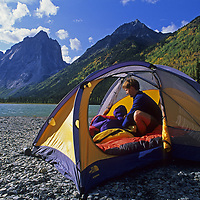 CAMPING, Jared Ogden at Glacier Lake, by Cirque of the Unclimbables, NWT,Canada
