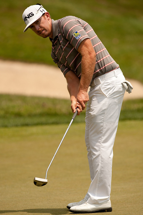 BETHESDA, MD - JULY 1: Hunter Mahan putts during the final round of the 2012 AT&T National at Congressional Country Club in in Bethesda, Maryland on July 1, 2012. (Photograph ©2012 Darren Carroll) *** Local Caption *** Hunter Mahan