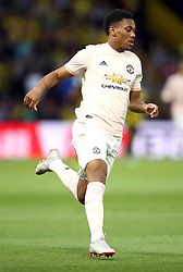 """Manchester United's Anthony Martial during the Premier League match at Vicarage Road, Watford PRESS ASSOCIATION Photo. Picture date: Saturday September 15, 2018. See PA story SOCCER Watford. Photo credit should read: Nigel French/PA Wire. RESTRICTIONS: EDITORIAL USE ONLY No use with unauthorised audio, video, data, fixture lists, club/league logos or """"live"""" services. Online in-match use limited to 120 images, no video emulation. No use in betting, games or single club/league/player publications."""