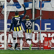 Trabzonspor's Souleman Bamba (R) goal during their Turkish SuperLeague Derby match Trabzonspor between Fenerbahce at the Avni Aker Stadium at Trabzon Turkey on Sunday, 17 February 2013. Photo by TURKPIX