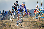 SHOT 1/12/14 4:21:16 PM - Allen Krughoff (#16) of Boulder, Co. chases Jonathan Page (#1) of Northfield, N.H. as the two compete in the Men's Elite race at the 2014 USA Cycling Cyclo-Cross National Championships at Valmont Bike Park in Boulder, Co. Krughoff finished fifth and Page finished sixth in the race. (Photo by Marc Piscotty / © 2014)
