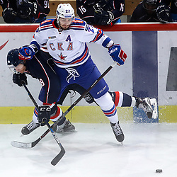 Alexandre Bolduc of Medvescak and Vyacheslav Voynov of SKA during ice-hockey match between KHL Medvescak Zagreb vs SKA in KHL league, on October 2, 2016, in Dom Sportova, Zagreb, Croatia. Photo by Matic Klansek Velej / Sportida.