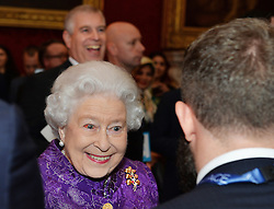 Queen Elizabeth II speaks to Ed Leon Klinger during the opening of Pitch@Palace 6.0, an initiative set up by the Duke of York to guide, help and connect entrepreneurs with potential supporters, including CEOs, influencers, mentors, and business partners, in order to accelerate and amplify their businesses, at St James's Palace in London.
