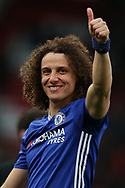 David Luiz of Chelsea gives a thumbs up to the Chelsea fans at the end of the match. Premier league match, Stoke City v Chelsea at the Bet365 Stadium in Stoke on Trent, Staffs on Saturday 18th March 2017.<br /> pic by Andrew Orchard, Andrew Orchard sports photography.