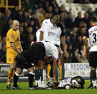 Picture: Henry Browne.<br /> Date: 04/02/2004.<br /> Fulham v Everton FA Cup Fourth Round Replay.<br /> <br /> Lee Carsley looks at Luis Boa Morte after he fouled him.