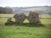 The Kings Men Stone circle erected around 2,500BC. Over 30,000 sign petition to protest plans for a bypass  that will put historic Rollright Stones at risk. photo by brian jordan