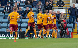 Motherwell's Allan Campbell (8) celebrates after scoring their third goal. Dundee 1 v 3 Motherwell, SPFL Ladbrokes Premiership game played 1/9/2018 at Dundee's Kilmac stadium Dens Park
