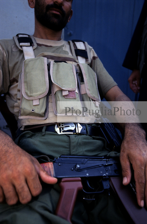 Kabul, 13 August 2008..Security Guard on duty at a the residence of a Parliament's  candidate.