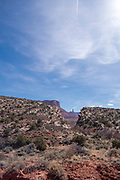View of the Red Cliffs area east of Moab.