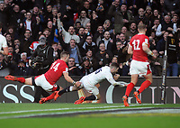Rugby Union - 2020 Guinness Six Nations Championship - England vs. Wales<br /> <br /> Elliot Daly of England dives over for his try, at Twickenham.<br /> <br /> COLORSPORT/ANDREW COWIE