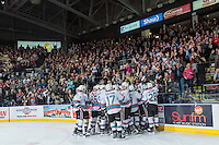 KELOWNA, CANADA - APRIL 4: The Kelowna Rockets celebrate the series win in game 7 of the first round of WHL playoffs on April 4, 2016 at Prospera Place in Kelowna, British Columbia, Canada.  (Photo by Marissa Baecker/Shoot the Breeze)  *** Local Caption *** Win;