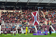 The SPFL Championship flag is raised before the Cinch SPFL Premiership match between Heart of Midlothian FC and Celtic FC at Tynecastle Park, Edinburgh, Scotland on 31 July 2021.