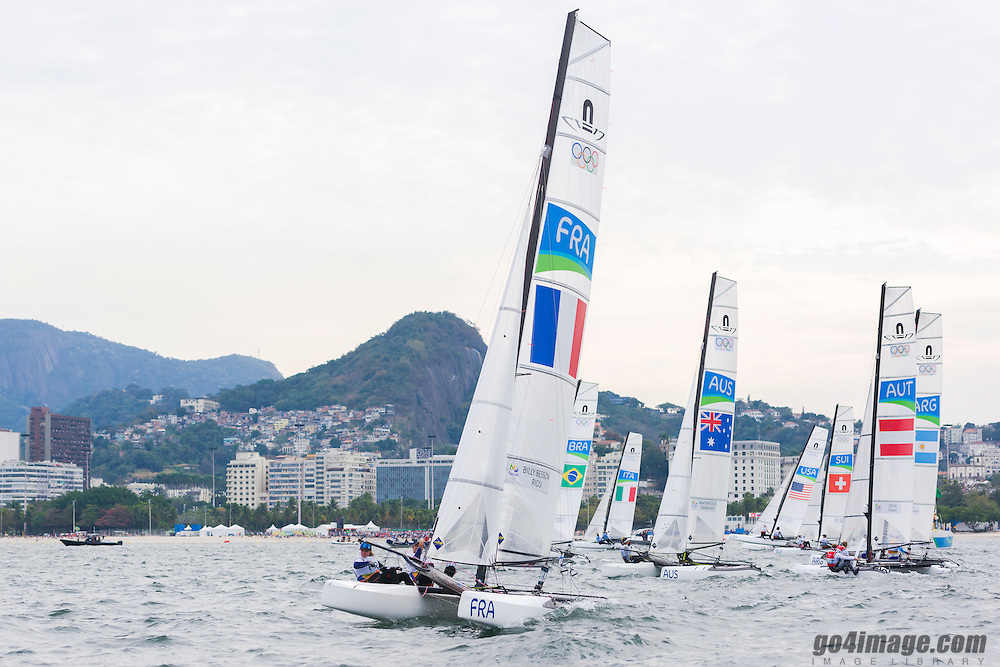 Rio 2016, Brazil Rio de Janeiro  August 2016 Guanabara Bay, Nacra racing during the Rio 2016 Olympic Games