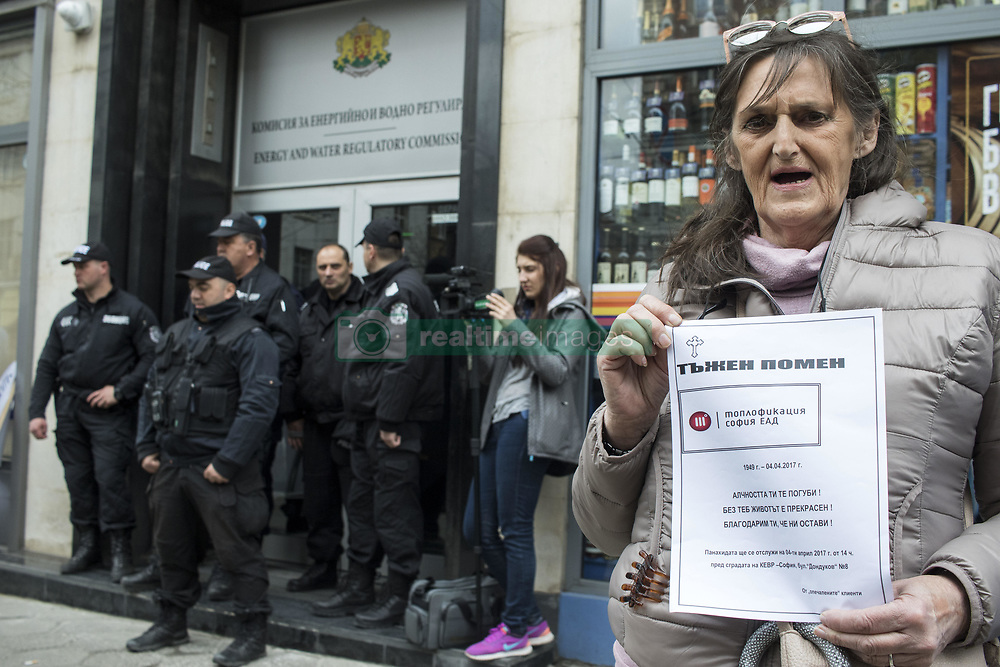 April 4, 2017 - Sofia, Bulgaria - Public protest in front of the Energy and Water Regulatory Commission (EWRC) in Sofia, on April 4, 2017 against the proposed increase in the price of heating energy by over 20 percent after the gas prices have risen by 30 percent since the beginning of April. (Credit Image: © Hristo Vladev/NurPhoto via ZUMA Press)