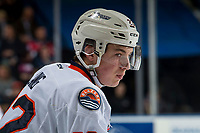 KELOWNA, BC - MARCH 09: Martin Lang #22 of the Kamloops Blazers stands on the ice against the Kelowna Rockets  at Prospera Place on March 9, 2019 in Kelowna, Canada. (Photo by Marissa Baecker/Getty Images)