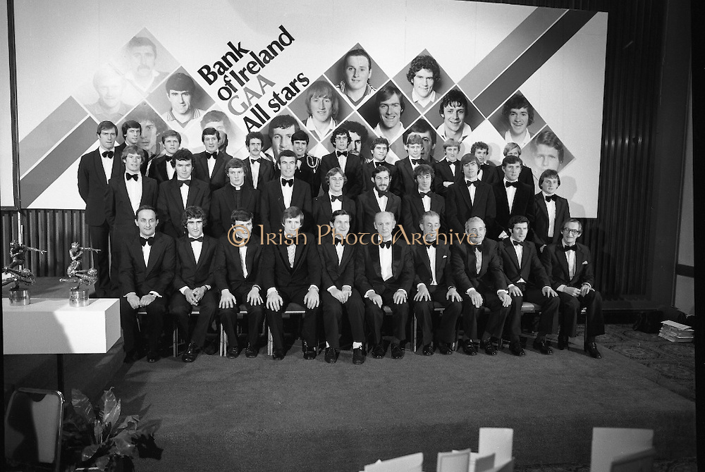 Bank of Ireland GAA Allstars.    (N5)..1979..07.12.1979..12.07.1979..7th December 1979..The 1979 Bank of Ireland GAA Allstars received their trophies from An Taoiseach, Mr Jack Lynch TD,at a banquet in Jury's Hotel,Dublin..Image of the GAA Allstars,Front row (L-R).John Neiland,Director,Bank of Ireland..Pat McLoughney, Tipperary..Brian Murphy, Cork..Martin O'Doherty, Cork..Liuam Mulvihill, Director General, GAA..Jack Lynch, An Taoiseach..Frank O'Rourke, Director, Bank of ireland..Paddy McFlynn, President,GAA..Tadhg O'Connor, Tipperary..Mick Dunne, Hon Sec, Selection Committee..Middle row,.Dermot McCurtain, Cork..Ger Henderson, Tipperary..Iggy Clarke, Galway..John Connolly, Galway..Joe Hennessey, Kilkenny..John Callinan, Clare..Liam O'Brien, Kilkenny..Joe Mc Kenna, Limerick..Paddy Cullen, Dublin..Eugene Hughes, Monaghan..Back row,.John O'Keefe, Kerry..Tom Heneghan, Roscommon..Tommy Drumm, Dublin..Tim Kennelly, Kerry..Danny Murray, Roscommon..Dermot Earley, Roscommon..bernard Brogan, Dublin..Ger Power, Kerry..Sean Walsh, Kerry..Pat Spillane, Kerry..Michael Sheehy, Kerry..Joe McGrath, Mayo.