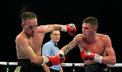 Josh Leather (right) in action against Glenn Foot during their IBF European Super Lightweight Championship at the Metro Arena, Newcastle.