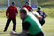 Warren Gatland , the Wales rugby team head coach (l)  during the Wales rugby team training session at the Vale Resort  in Hensol, near Cardiff , South Wales on Tuesday 20th February 2018.  the team are preparing for their next NatWest 6 Nations 2018 championship match against Ireland this weekend.   pic by Andrew Orchard
