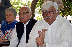 April 26, 2017 - Pakistan - PESHAWAR, PAKISTAN, APR 26: Awami National Party (ANP) President, Asfandyar Wali .Khan addresses to media persons during press conference held at Bilour House in Peshawar on .Wednesday, April 26, 2017. (Credit Image: © PPI via ZUMA Wire)
