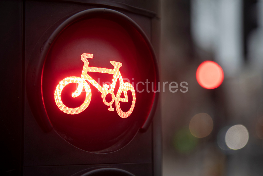 Cycle lane traffic lights on 8th January 2020 in London, England, United Kingdom. Cycling has become a very popular mode of transport in the capital as people try to avoid public transport, saving money, getting fit and saving time.
