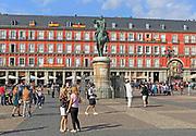 Plaza Mayor, Madrid, Spain designed 1619 Juan Gomez de Mora central square tourist attraction in the heart of the city