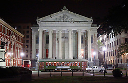 08 November 2014. New Orleans, Louisiana. <br />  2014 International Irish Famine Commemoration, Gallier Hall.<br /> Night shot of Gallier Hall.<br /> Photo; Charlie Varley/varleypix.com