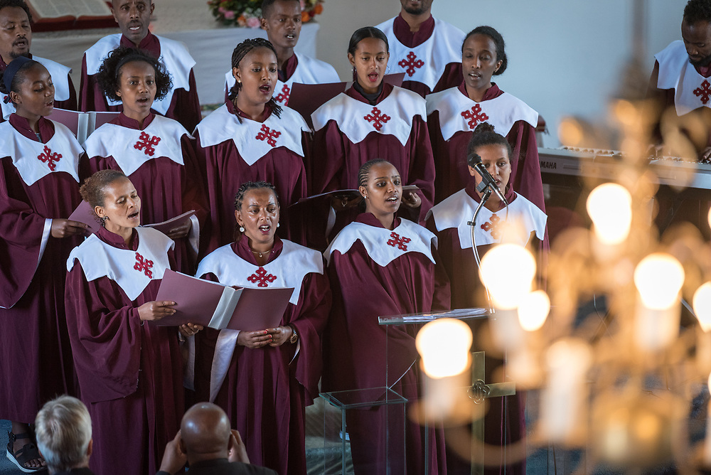 3 February 2019, Addis Ababa, Ethiopia: The parish choir performs, as more than 400 congregants, including a range of ecumenical guests, gather for worship at the Addis Ababa Evangelical Church Mekane Yesus, a congregation in the Ethiopian Evangelical Church Mekane Yesus. The congregation goes back to the very roots of the Lutheran presence in Ethiopia, and currently serves some 2,000 congregants, in a church of 9.3 million members spread across 9,000+ congregations around Ethiopia.