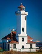 The Point Wilson Lighthouse, located in Fort Worden State Park near Port Townsend, Washington