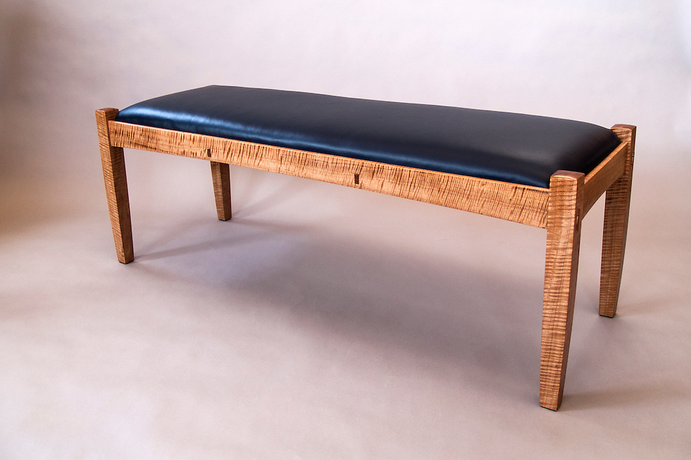 handmade furniture/bench<br /> anigre and leather