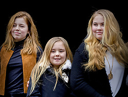 (l to r) Princess Alexia, Princess Ariane and Princess Amalia of The Netherlands arrive for Princess Beatrix 80th birthday reception held at the Royal Palace on Dam Square in Amsterdam, Netherlands, February 3, 2018. Photo by Robin Utrecht/ABACAPRESS.COM