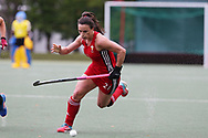 Xenna Hughes of Wales © in action. Xenna is the 24 year old daughter of Stoke city manager Mark Hughes who played international football for Wales.  Belarus v Wales, EuroHockey 11 Women's championship 2017 in Cardiff, South Wales , Wednesday 9th August 2017<br /> pic by Andrew Orchard, Andrew Orchard sports photography.