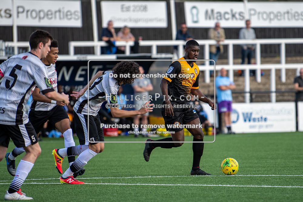 BROMLEY, UK - SEPTEMBER 08: Ben Mundelle, of Cray Wanderers FC, during the Emirates FA Cup First Qualifying Round match between Cray Wanderers FC and Bedfont Sports Club at Hayes Lane on September 8, 2019 in Bromley, UK. <br /> (Photo: Jon Hilliger)
