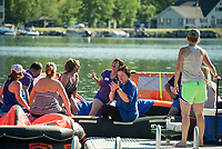 """Rafters during the Make A Wish """"Rafting for Wishes"""" event on Saturday morning.   (Karen Bobotas/for the Laconia Daily Sun)"""