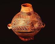 Ancestral Pueblo pottery, Pueblo III, Mesa Verde Black-on-white Olla, Edge of the Cedars State Park Museum, Blanding, Utah.  (ECPR-8786)