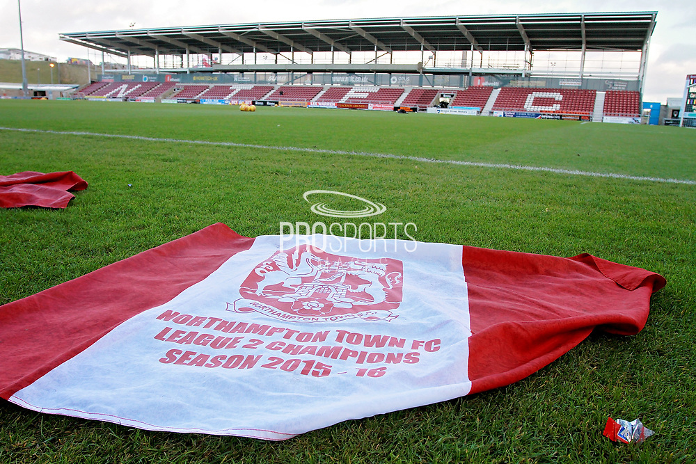 A Northampton Town flag and a stadium view before the EFL Sky Bet League 1 match between Northampton Town and Bury at Sixfields Stadium, Northampton, England on 25 November 2017. Photo by Nigel Cole.