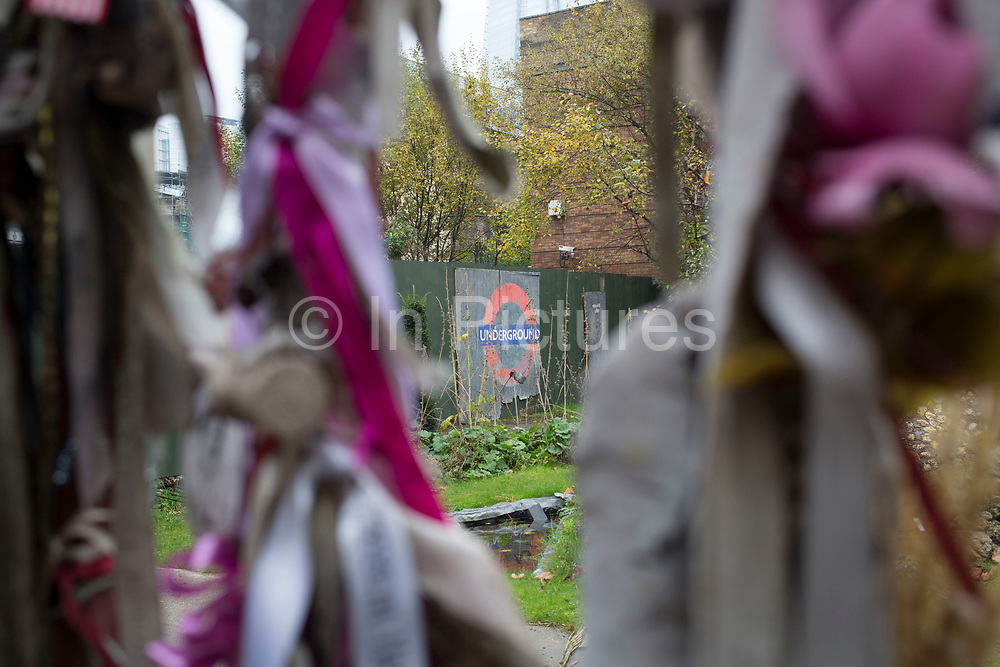 Memorial left at Cross Bones Graveyard in Southwark, London. In medieval times this was an u consecrated graveyard for prostitutes. By the 18th century it had become a paupers burial ground, which closed in 1853. Here at the site, local people have created a memorial shrine to The Outcast Dead.