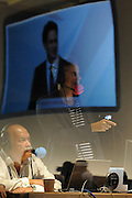 © Licensed to London News Pictures. 27/09/2011. LONDON, UK. Radio presenter Richard Bacon watches Ed Miliband deliver his Leader's Speech at The Labour Party Conference in Liverpool today (27/09/11). Photo credit:  Stephen Simpson/LNP