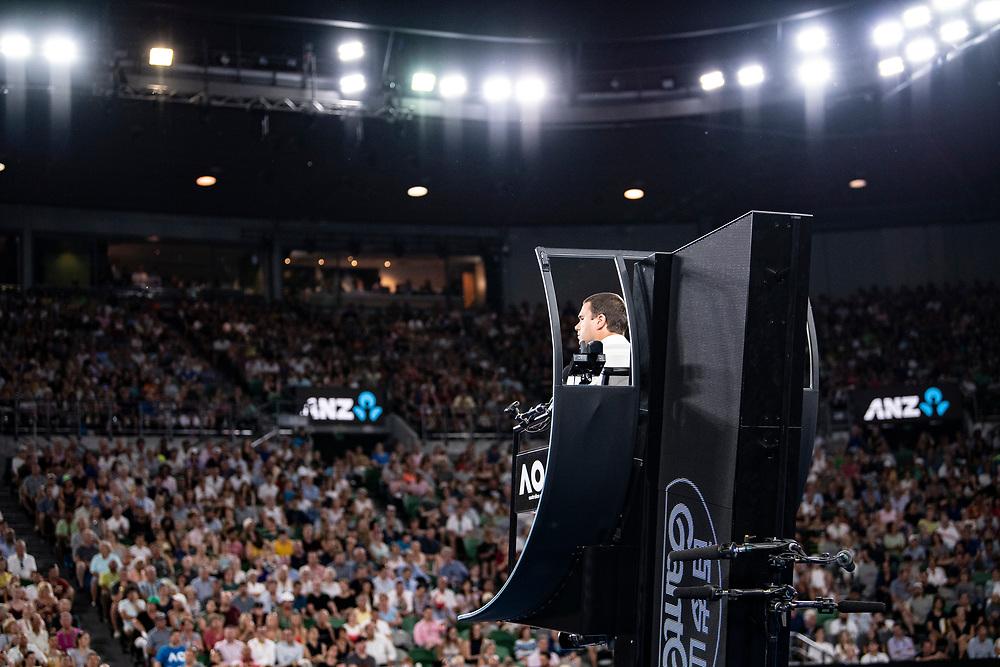 A chair umpire on day four of the 2018 Australian Open in Melbourne Australia on Thursday January 18, 2018.<br /> (Ben Solomon/Tennis Australia)