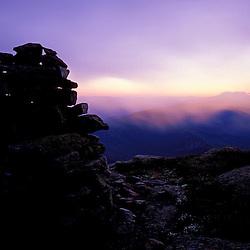 Mt. Lafayette. Franconia Ridge. Appalachian Trail. Sunrise. Cairns.  White Mountain N.F., NH