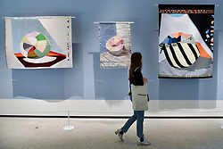 """© Licensed to London News Pictures. 27/06/2017. London, UK. Woven textiles, 20150-2016 depicting a colour catcher.  Preview of """"Breathing Colour"""", an exhibition by acclaimed designer Hella Jongerius, at the Design Museum, Kensington which comprises a series of newly commissioned installations exploring humans perceptions and connections to colour.  The exhibition runs from 28 June to 24 September 2017.  Photo credit : Stephen Chung/LNP"""