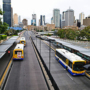 A major bus stop interchange at Southbank in Brisbane