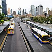 A major bus stop interchange at Southbank in Brisbane